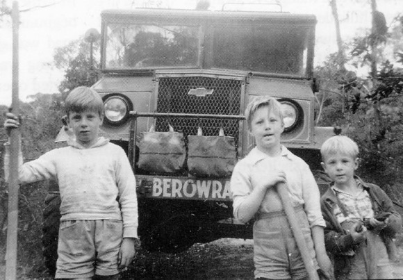Hatfield boys with Betsy an ex-Military Fire Tanker used from 1949-1972.Top speed down hill about 40mph.