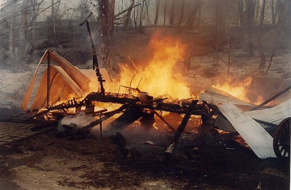 Fire damage at Melvy's Wharf 1994