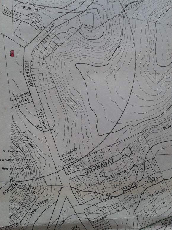 a map of the Turner Road area showing the proposed and existing development by the '70's including the position of the Sneddon family home.