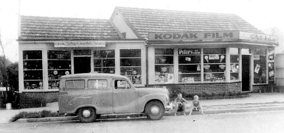 Bradley's shop with car + small boys