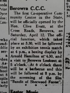 Extracted from the Hornsby and District Advocate of Thursday April 3rd,1952