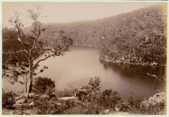 Cowan Creek with man in foreground           Photograph courtesy of NSW State Library C1900